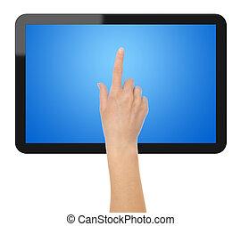 tablette, PC, main