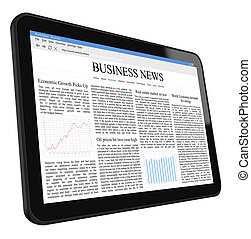 Business News on Tablet PC. Include clipping path for tablet...
