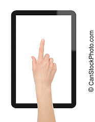 Hand press on Tablet PC - Interactive Touch Screen Tablet...