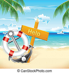 Lifebouy and Anchor - illustration of lifebouy and anchor...