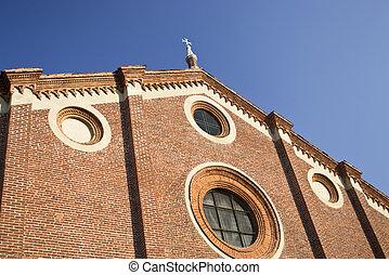 Basilica Santa Maria Grazie - Milan - Facade of the basilica...