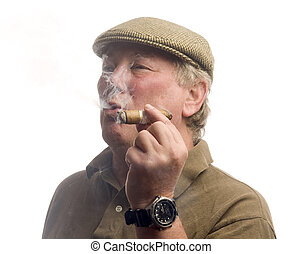 handsome middle age man smoking cigar