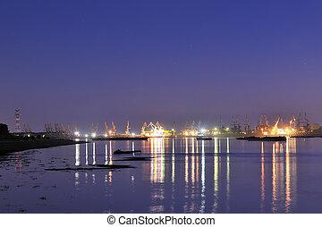 Shipyard in night time