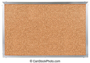 Cork board with aluminum frame isolated on white
