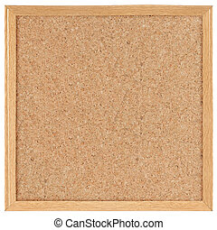 square cork board isolated over white