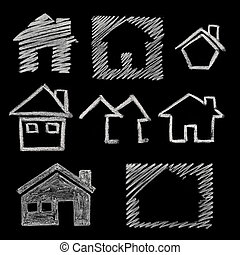 house icon on blackboard - house icon variations, hand drawn...