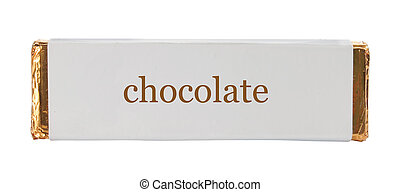 chocolate Wrapping aluminum foil and paper. isolated over...