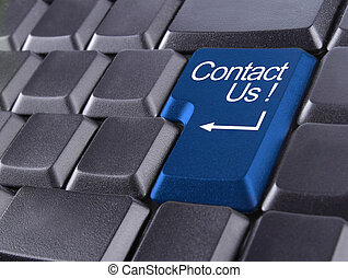 contact us or support concept with computer keyboard button