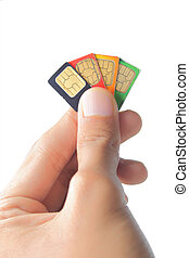 Sim card In a hand
