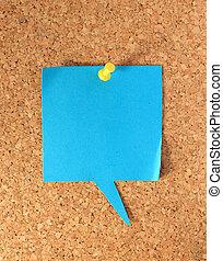 paper on corkboard