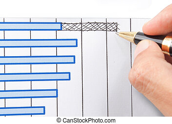 hand drawing a chart isolated on white background