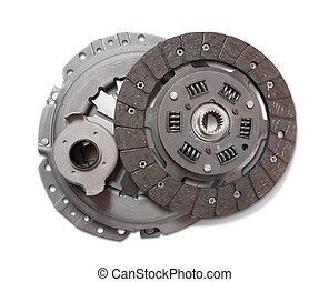 clutch - automobile engine clutch. Isolated on white with...