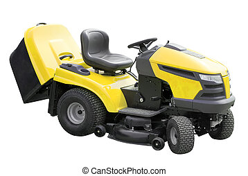 yellow lawnmower Isolated over white with clipping path