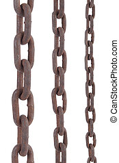 rusty chain - rusty old steel chain in any different size on...