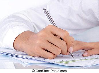 Assinando, Contrato, mão