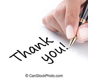 mão, escrita, agradecer, tu