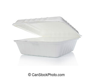 Styrofoam of food container isolated on white