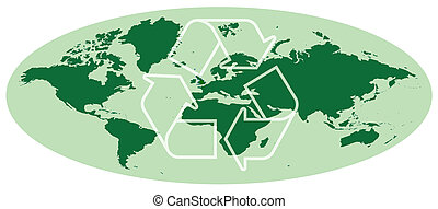 earth map with recycling symbol - Green oval earth map with...