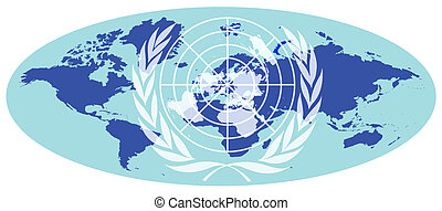United Nations - Blue oval earth map with United Nations...