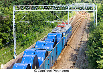 Goods Train - Goods train with an open top wagons loaded...