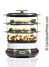 Healthy cooking, steam cooker with vegetables - steam cooker...