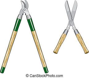 Garden Loppers and Clippers - Illustration of two types of...