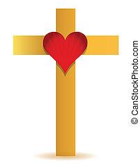 Golden Cross and heart illustration