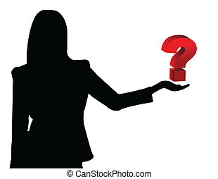 Business woman showing question symbol