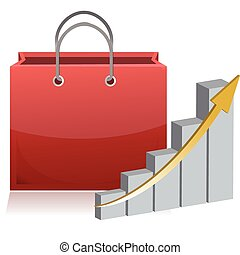 shopping finance sign and chart
