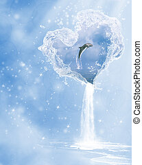 The heart of the ocean - a dolphin jumping in the heart of...