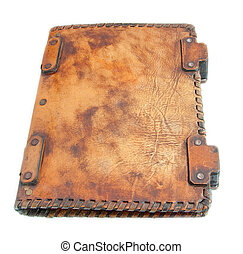 The ancient book in leather cover, a skin structure