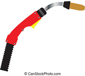 Mig Welding Torch - A Red and Yellow Mig Welding Torch...