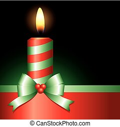 red candle with green ribbon on black background