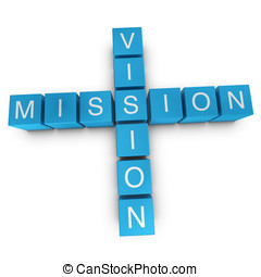 Vision and mission crossword on white background, 3D...