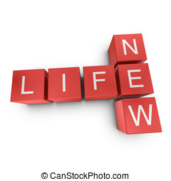 New life 3D crossword on white background