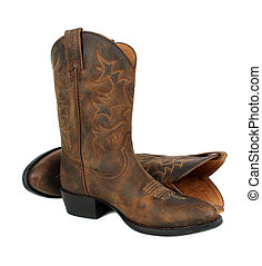 Cowboy boots - Pair of brown leather cowboy boots on white...