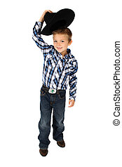 Cowboy - Young cowboy lifting his hat to greet someone