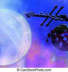 Solar Nexus 2 - A spaceship passes a moon and orbiting...