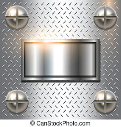 Metal background with screws, vector.