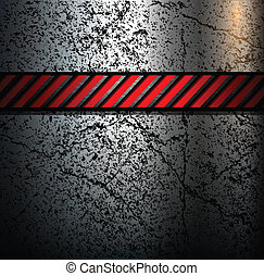 Metal background with warning stripe, vector