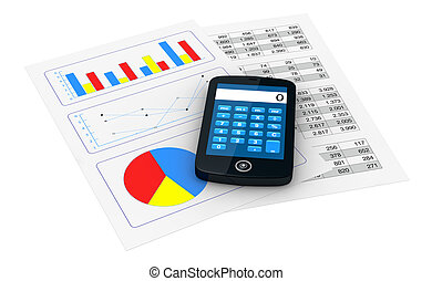 financial analysis - one smartphone with a calculator...