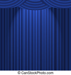 Blue Curtain on stage - A blue textured curtain on a stage...