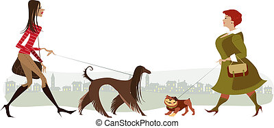 Walking dogs - Vector cartoon of two ladies walking dogs