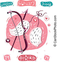 Valentin - vector illustration of angel wings, arrows and...