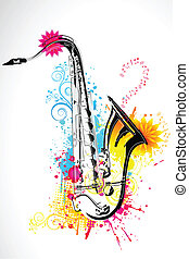 Saxophone - illustration of saxophone on abstract floral...