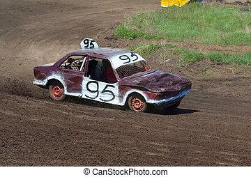 Race for survival. White purple car