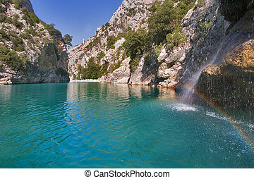 Rainbow in a sunny day - The river Verdon on the average...
