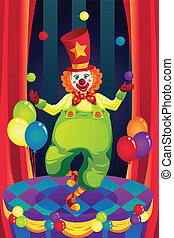 Clown on stage - A vector illustration of a clown performing...