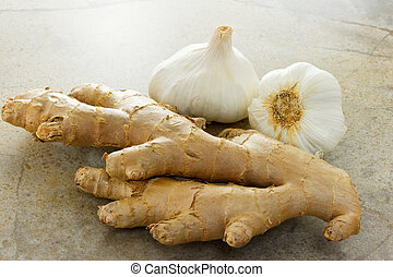 Ginger and garlic on the stone table