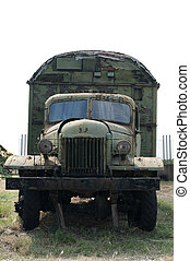 Old military truck - Old green military truck. Vertical...